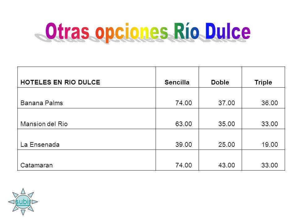 HOTELES EN RIO DULCESencillaDobleTriple Banana Palms 74.00 37.00 36.00 Mansion del Rio 63.00 35.00 33.00 La Ensenada 39.00 25.00 19.00 Catamaran 74.00