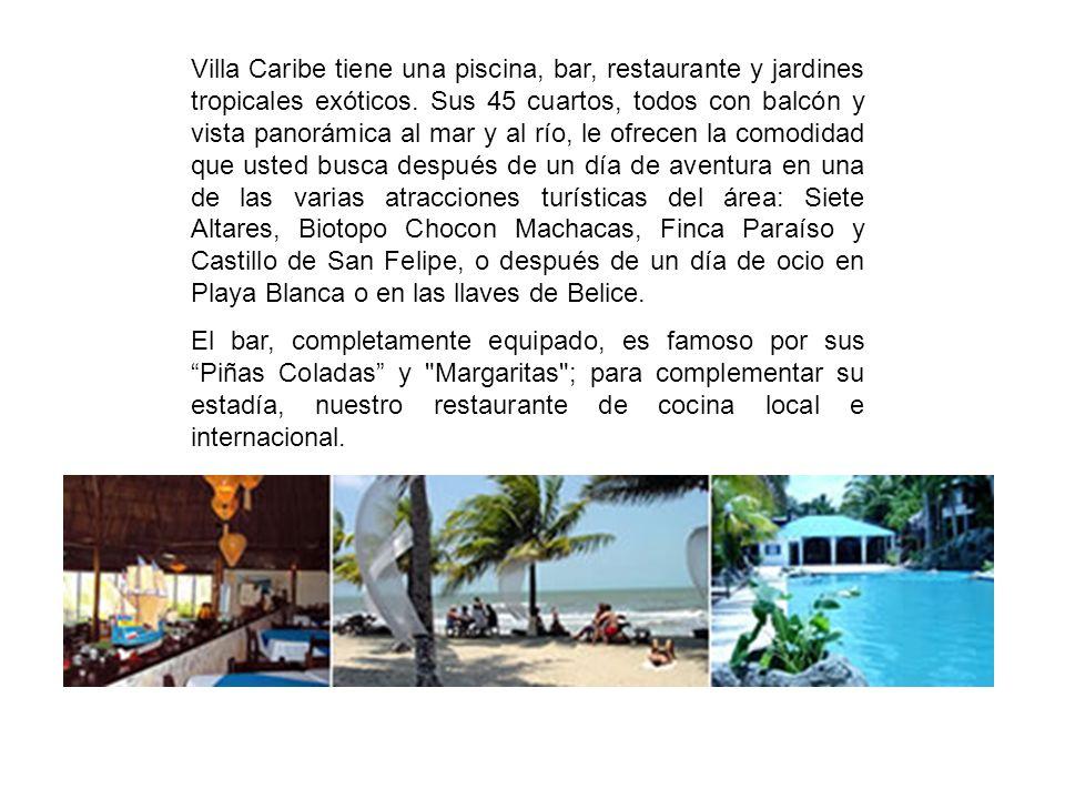 Villa Caribe tiene una piscina, bar, restaurante y jardines tropicales exóticos. Sus 45 cuartos, todos con balcón y vista panorámica al mar y al río,
