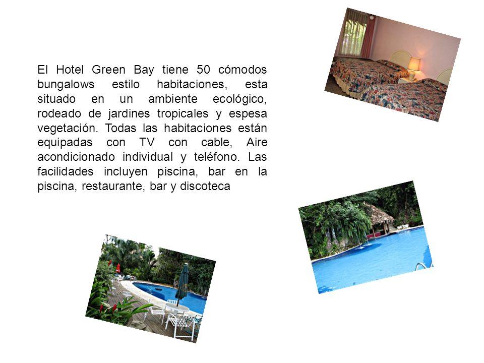 El Hotel Green Bay tiene 50 cómodos bungalows estilo habitaciones, esta situado en un ambiente ecológico, rodeado de jardines tropicales y espesa vege