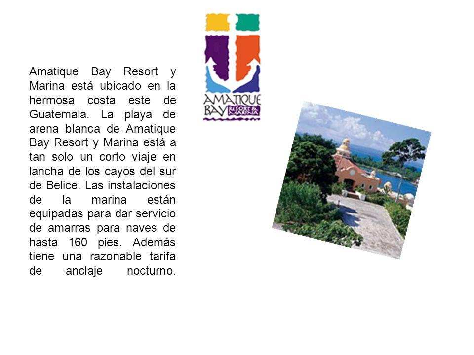 Amatique Bay Resort y Marina está ubicado en la hermosa costa este de Guatemala. La playa de arena blanca de Amatique Bay Resort y Marina está a tan s
