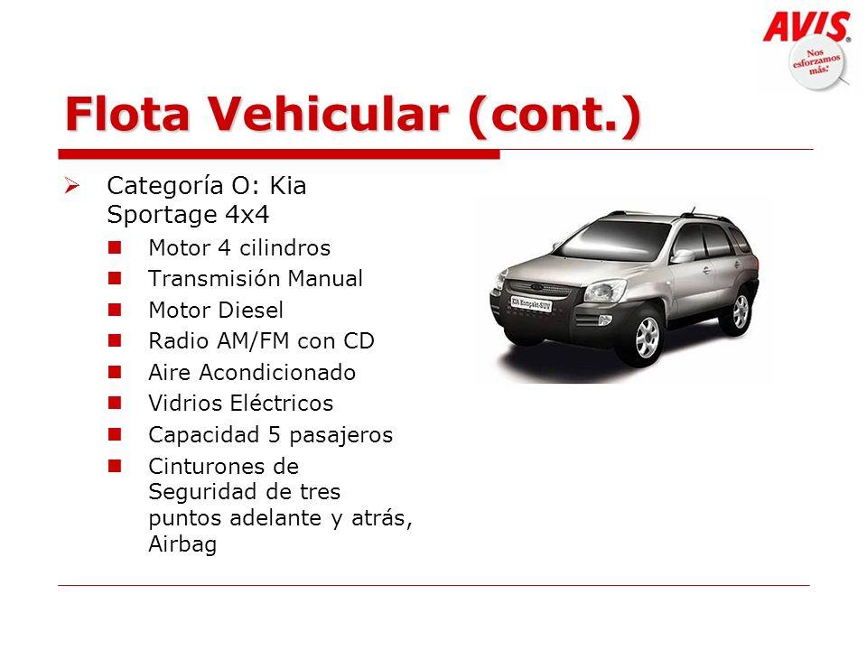 Flota Vehicular (cont.) Categoría O: Kia Sportage 4x4 Motor 4 cilindros Transmisión Manual Motor Diesel Radio AM/FM con CD Aire Acondicionado Vidrios