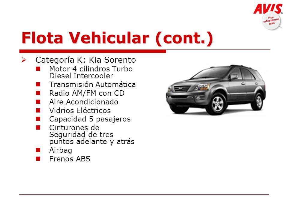 Flota Vehicular (cont.) Categoría K: Kia Sorento Motor 4 cilindros Turbo Diesel Intercooler Transmisión Automática Radio AM/FM con CD Aire Acondiciona