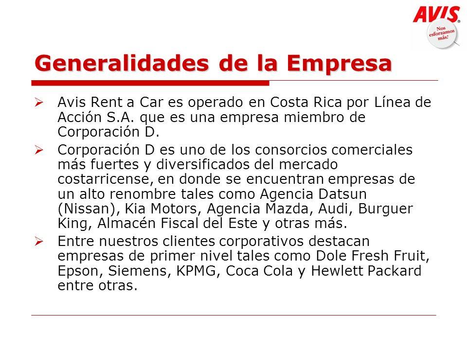 Generalidades de la Empresa Avis Rent a Car es operado en Costa Rica por Línea de Acción S.A. que es una empresa miembro de Corporación D. Corporación