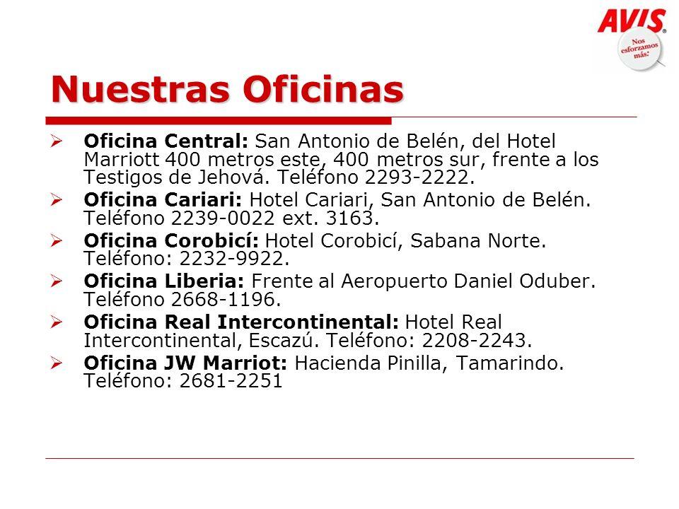 Nuestras Oficinas Oficina Central: San Antonio de Belén, del Hotel Marriott 400 metros este, 400 metros sur, frente a los Testigos de Jehová. Teléfono