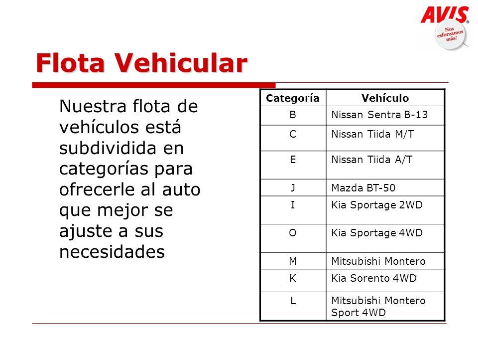 Flota Vehicular Nuestra flota de vehículos está subdividida en categorías para ofrecerle al auto que mejor se ajuste a sus necesidades CategoríaVehícu