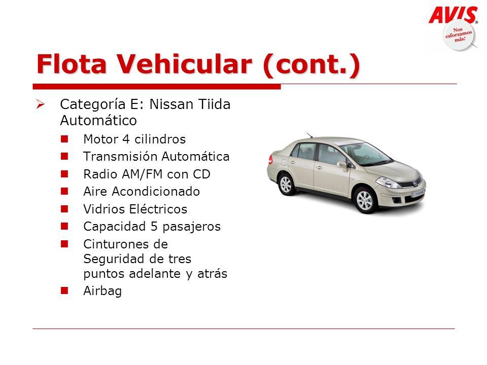 Flota Vehicular (cont.) Categoría E: Nissan Tiida Automático Motor 4 cilindros Transmisión Automática Radio AM/FM con CD Aire Acondicionado Vidrios El