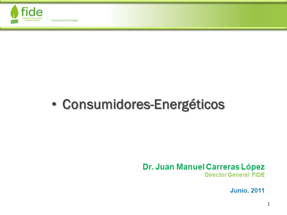 Consumidores-Energéticos Consumidores-Energéticos 1 Dr. Juan Manuel Carreras López Director General FIDE Junio, 2011
