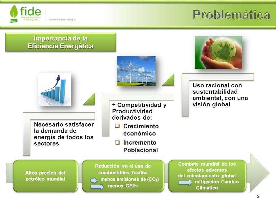 Importancia de la Eficiencia Energética Necesario satisfacer la demanda de energía de todos los sectores + Competitividad y Productividad derivados de