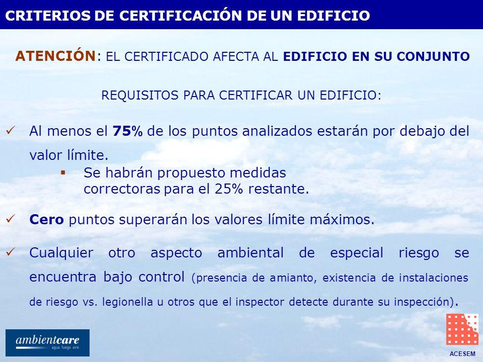 ACESEM CRITERIOS DE CERTIFICACIÓN DE UN EDIFICIO Cualquier otro aspecto ambiental de especial riesgo se encuentra bajo control (presencia de amianto,