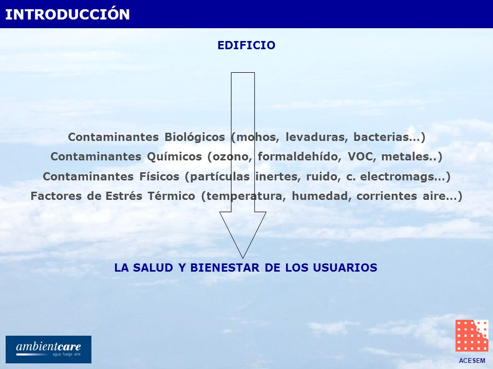 ACESEM LA SALUD Y BIENESTAR DE LOS USUARIOS Contaminantes Biológicos (mohos, levaduras, bacterias…) Contaminantes Químicos (ozono, formaldehído, VOC,