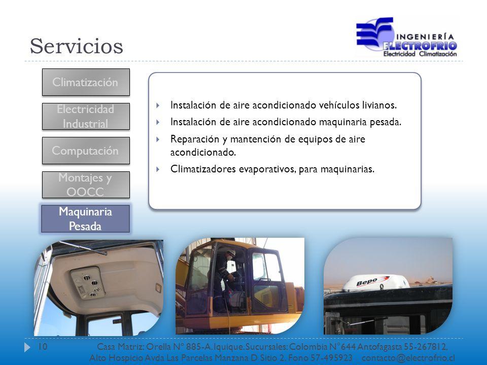 Servicios Climatización Electricidad Industrial Computación Instalación de aire acondicionado vehículos livianos. Instalación de aire acondicionado ma