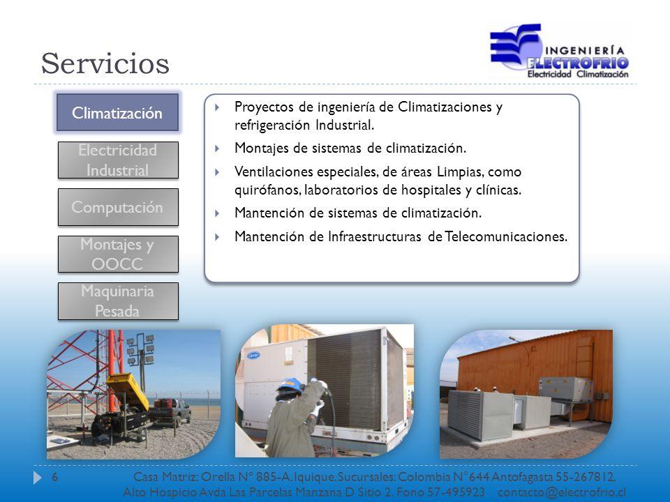 Servicios Climatización Electricidad Industrial Computación Montajes y OOCC Proyectos eléctricos de fuerza y alumbrado de baja tensión.