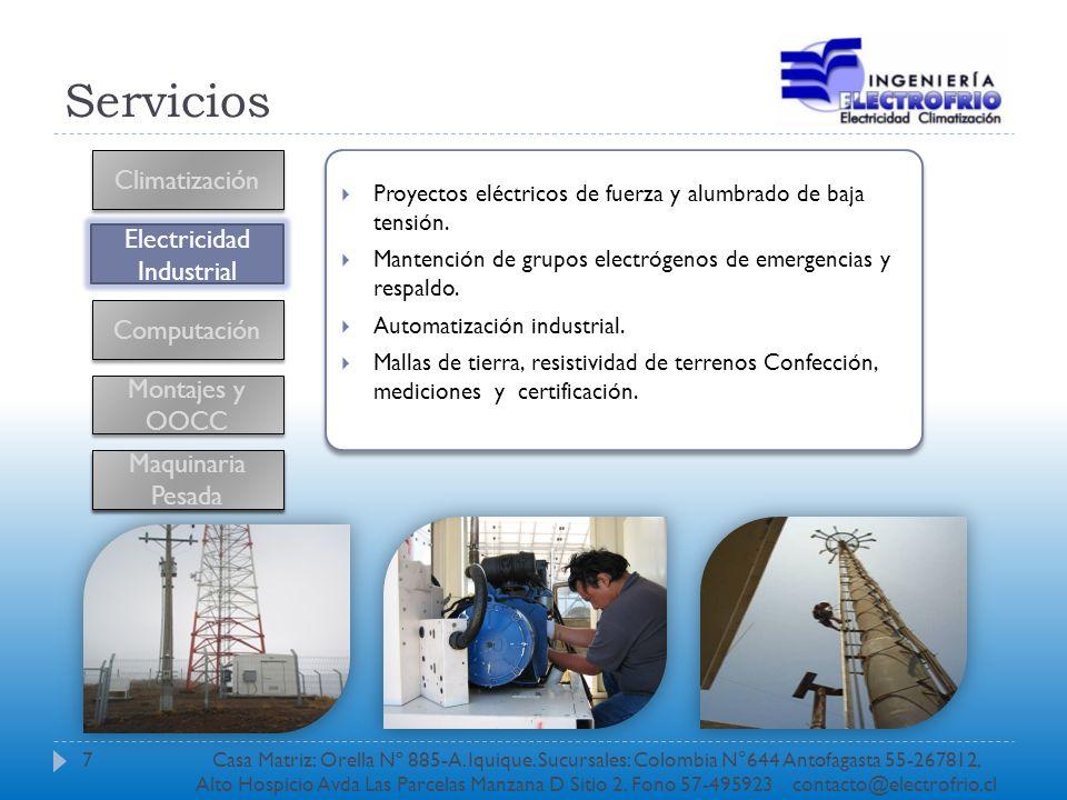 Servicios Climatización Electricidad Industrial Computación Montajes y OOCC Proyectos eléctricos de fuerza y alumbrado de baja tensión. Mantención de