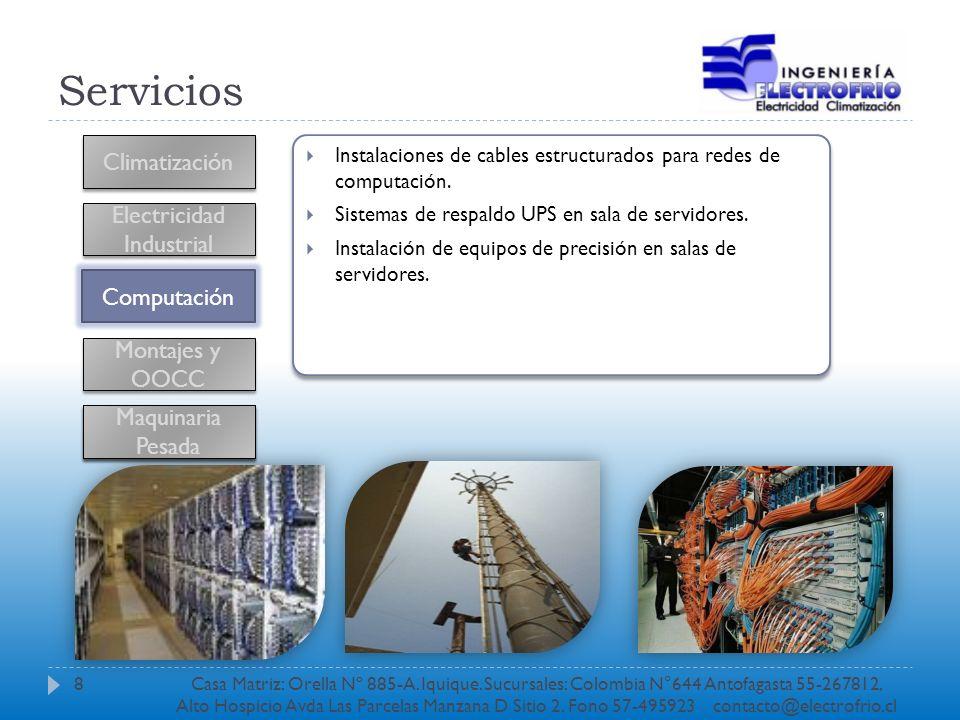 Servicios Climatización Electricidad Industrial Computación Montajes y OOCC Instalaciones de cables estructurados para redes de computación. Sistemas