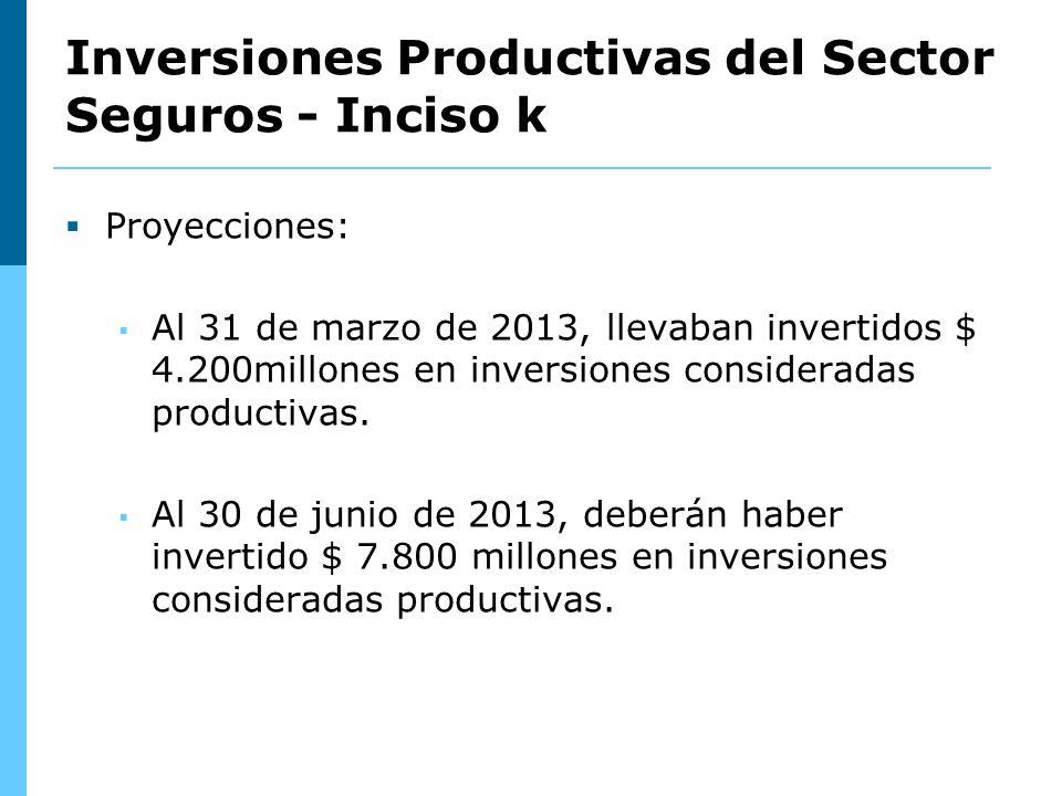 Proyecciones: Al 31 de marzo de 2013, llevaban invertidos $ 4.200millones en inversiones consideradas productivas.