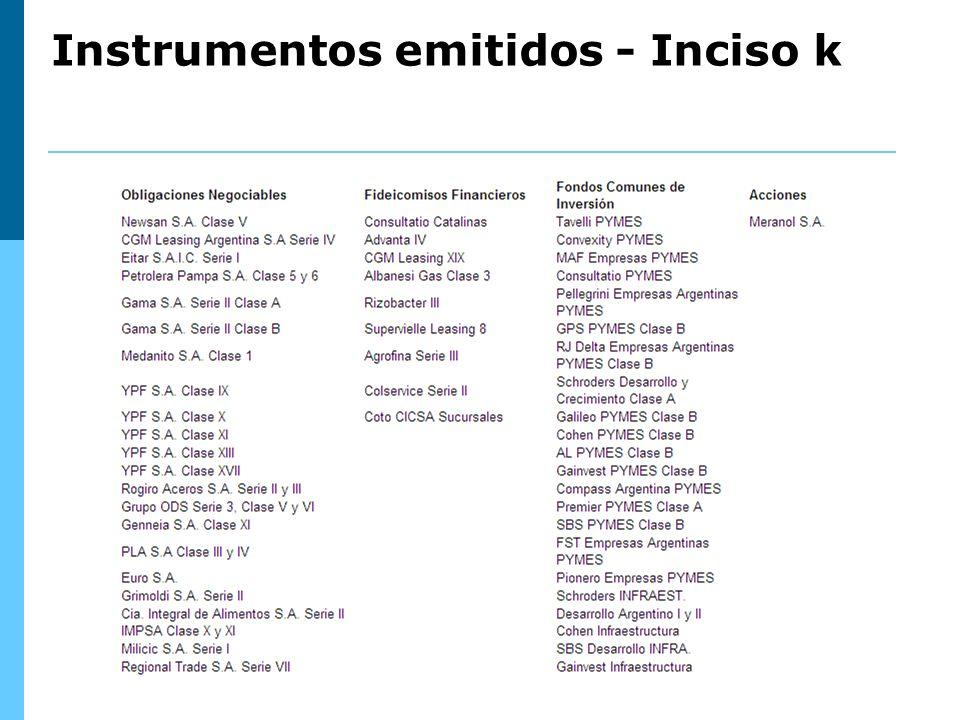 Instrumentos emitidos - Inciso k