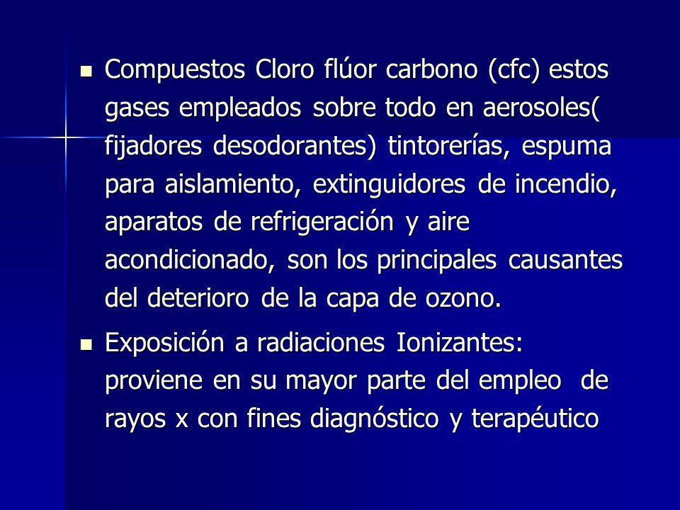 Compuestos Cloro flúor carbono (cfc) estos gases empleados sobre todo en aerosoles( fijadores desodorantes) tintorerías, espuma para aislamiento, exti