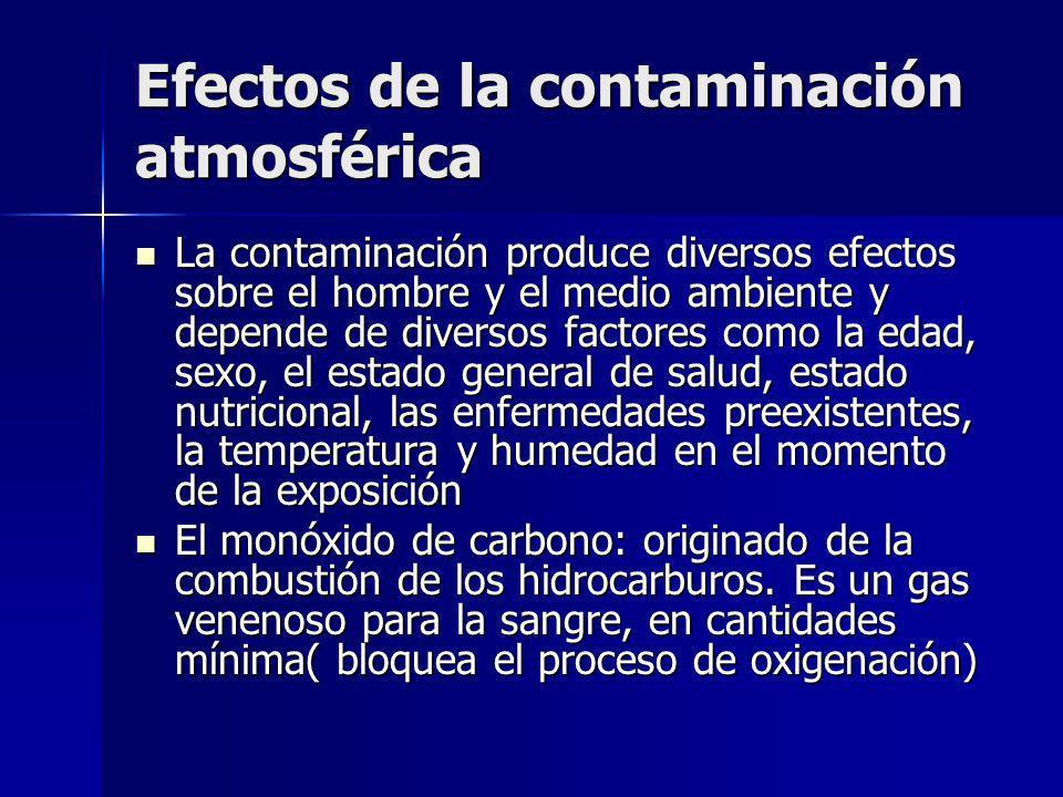 Efectos de la contaminación atmosférica La contaminación produce diversos efectos sobre el hombre y el medio ambiente y depende de diversos factores c