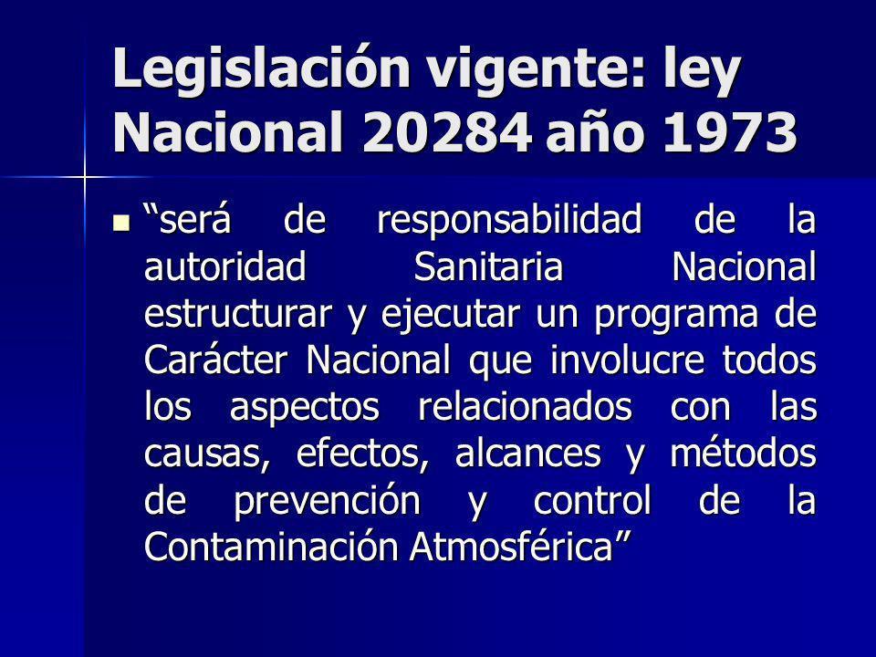 Legislación vigente: ley Nacional 20284 año 1973 será de responsabilidad de la autoridad Sanitaria Nacional estructurar y ejecutar un programa de Cará