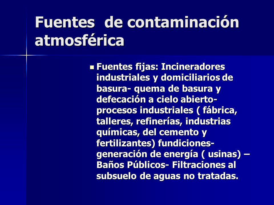 Fuentes de contaminación atmosférica Fuentes fijas: Incineradores industriales y domiciliarios de basura- quema de basura y defecación a cielo abierto