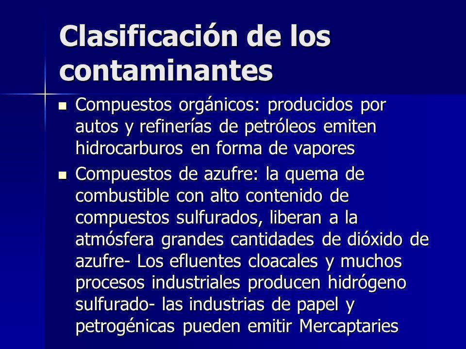 Clasificación de los contaminantes Compuestos orgánicos: producidos por autos y refinerías de petróleos emiten hidrocarburos en forma de vapores Compu