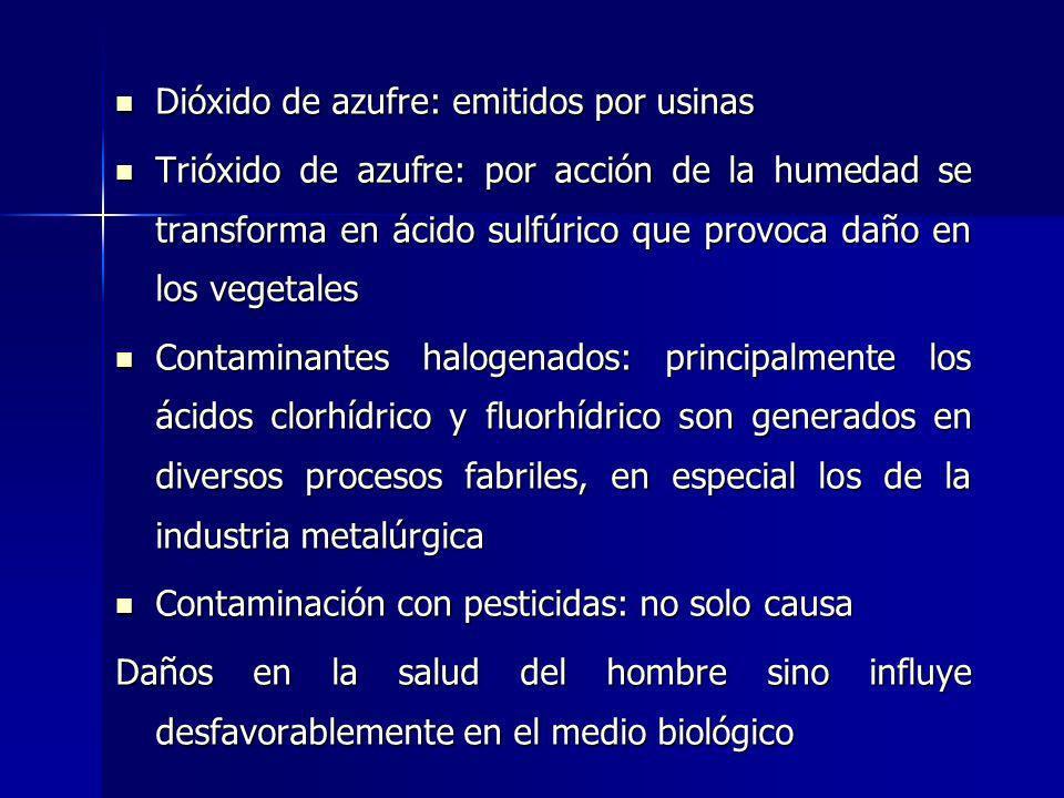 Dióxido de azufre: emitidos por usinas Dióxido de azufre: emitidos por usinas Trióxido de azufre: por acción de la humedad se transforma en ácido sulf