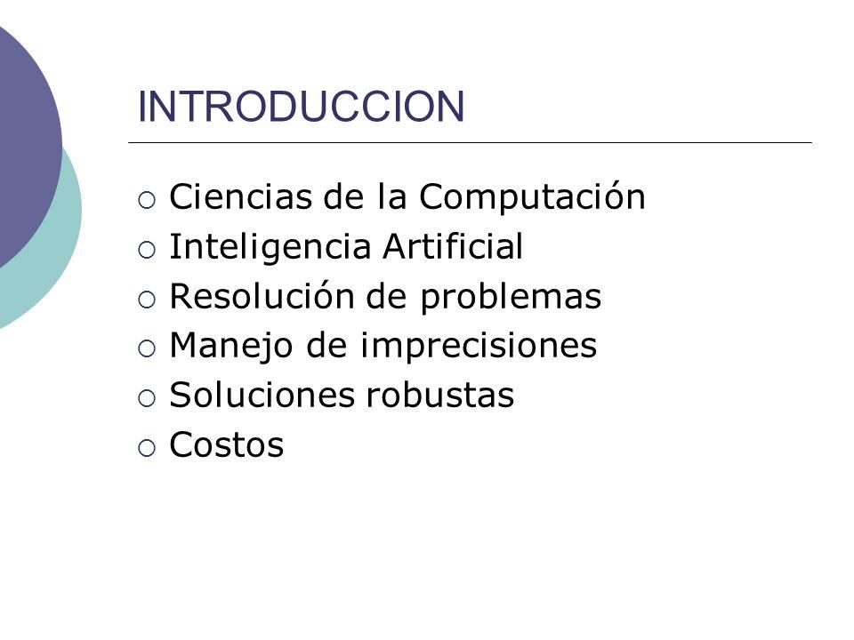 INTRODUCCION Ciencias de la Computación Inteligencia Artificial Resolución de problemas Manejo de imprecisiones Soluciones robustas Costos