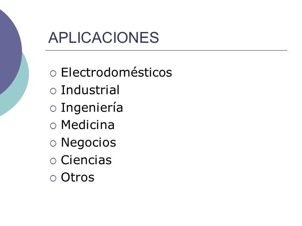 APLICACIONES Electrodomésticos Industrial Ingeniería Medicina Negocios Ciencias Otros