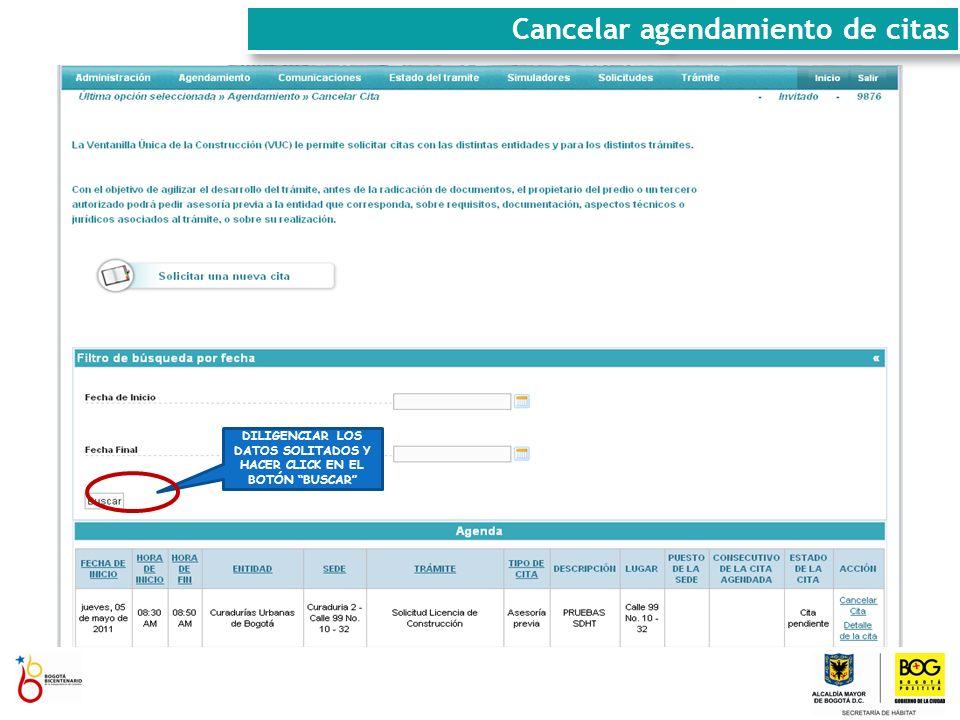 DILIGENCIAR LOS DATOS SOLITADOS Y HACER CLICK EN EL BOTÓN BUSCAR Cancelar agendamiento de citas