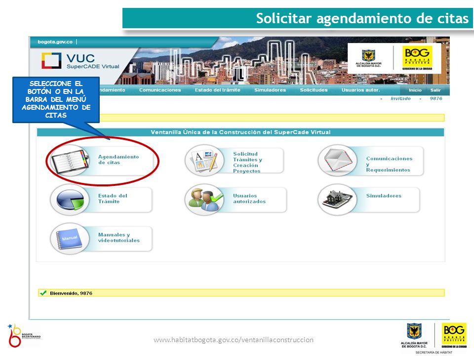HAGA CLICK EN NUEVA CITA Solicitar agendamiento de citas