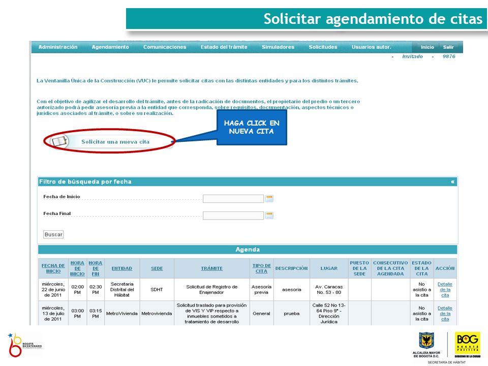 DILIGENCIE LOS CAMPOS REQUERIDOS Y HAGA CLICK EN BUSCAR Solicitar agendamiento de citas