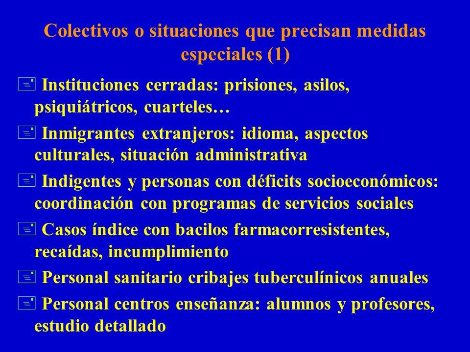 Colectivos o situaciones que precisan medidas especiales (1) + Instituciones cerradas: prisiones, asilos, psiquiátricos, cuarteles… + Inmigrantes extr