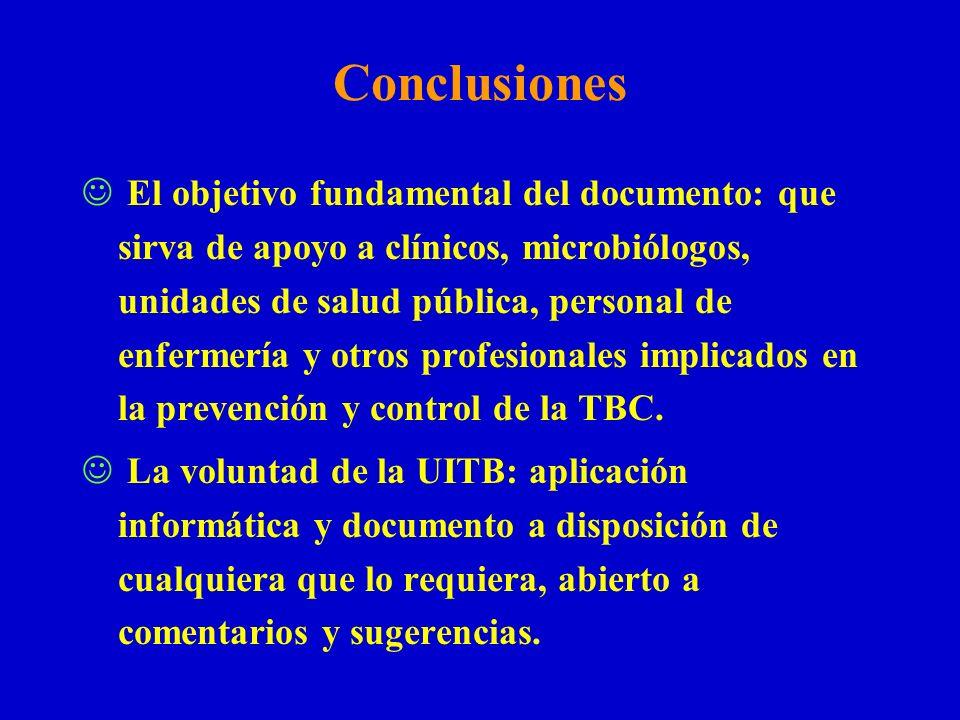 Conclusiones El objetivo fundamental del documento: que sirva de apoyo a clínicos, microbiólogos, unidades de salud pública, personal de enfermería y