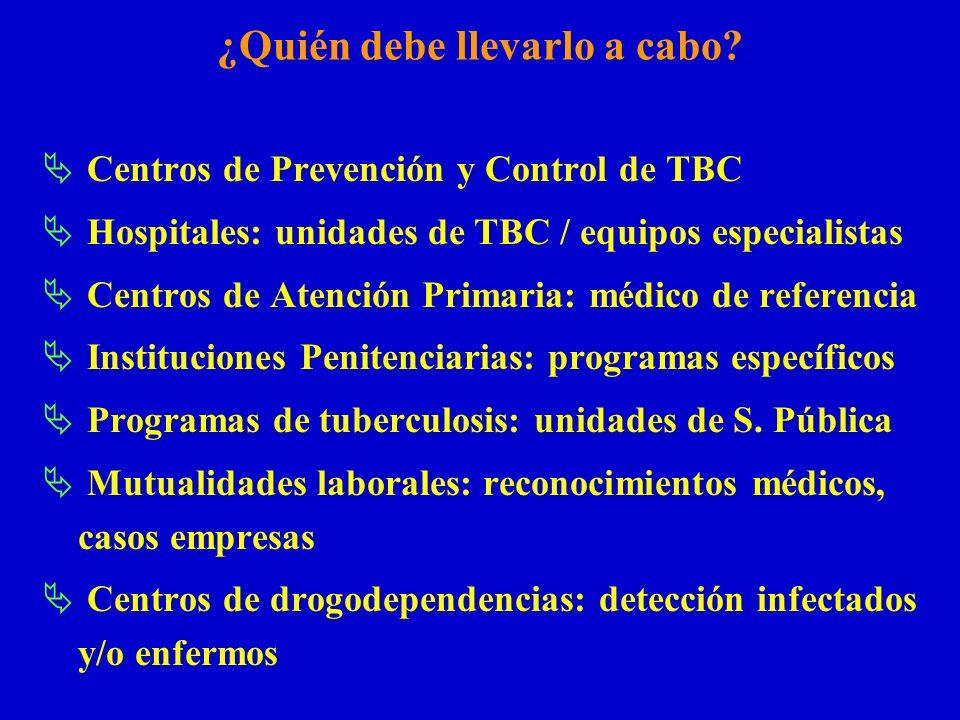 ¿Quién debe llevarlo a cabo? Centros de Prevención y Control de TBC Hospitales: unidades de TBC / equipos especialistas Centros de Atención Primaria: