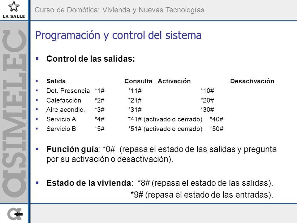 Curso de Domótica: Vivienda y Nuevas Tecnologías Programación y control del sistema Control de las salidas: SalidaConsulta Activación Desactivación De