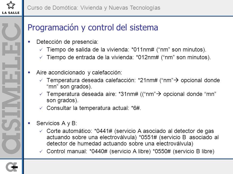 Curso de Domótica: Vivienda y Nuevas Tecnologías Programación y control del sistema Detección de presencia: Tiempo de salida de la vivienda: *011nm# (