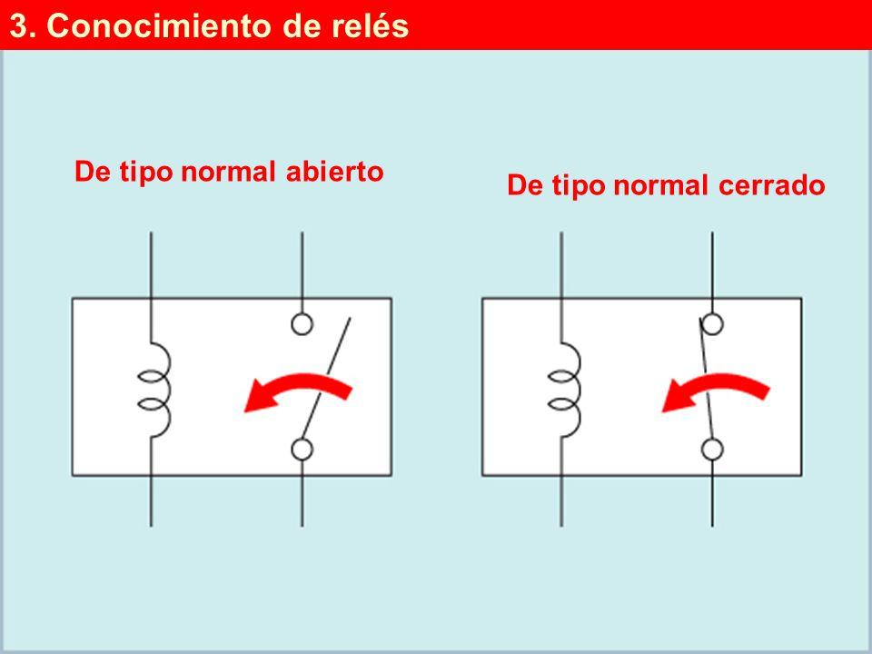 (3/4)(3/4) De tipo normal abierto De tipo normal cerrado 3. Conocimiento de relés