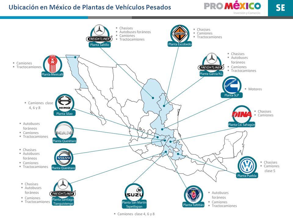 Ubicación en México de Plantas de Vehículos Pesados