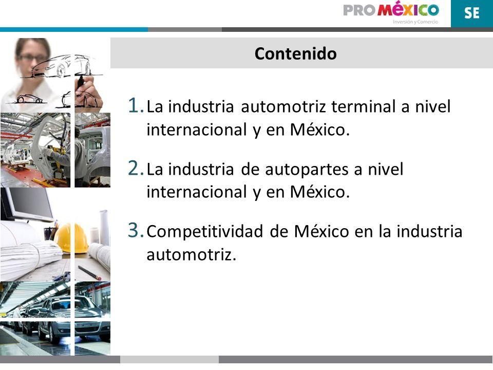 Contenido 1. La industria automotriz terminal a nivel internacional y en México. 2. La industria de autopartes a nivel internacional y en México. 3. C