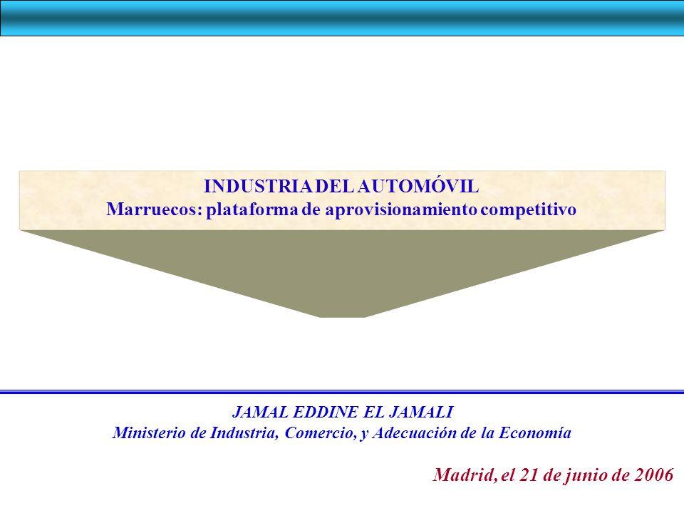 INDUSTRIA AUTOMÓVIL EN MARRUECOS Industria automóvil en Marruecos en cifras (2004) Producción: 1,2 Mil millones Inversión: 112.4 Millones Exportaciones: 623.2 Millones Valor añadido : 287.3 Millones Empleos: 26 000 Industria caracterizada por una evolución considerable a varios niveles 100 empresas
