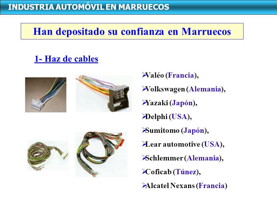 INDUSTRIA AUTOMÓVIL EN MARRUECOS Han depositado su confianza en Marruecos Valéo (Francia), Volkswagen (Alemania), Yazaki (Japón), Delphi (USA), Sumitomo (Japón), Lear automotive (USA), Schlemmer (Alemania), Coficab (Túnez), Alcatel Nexans (Francia) 1- Haz de cables