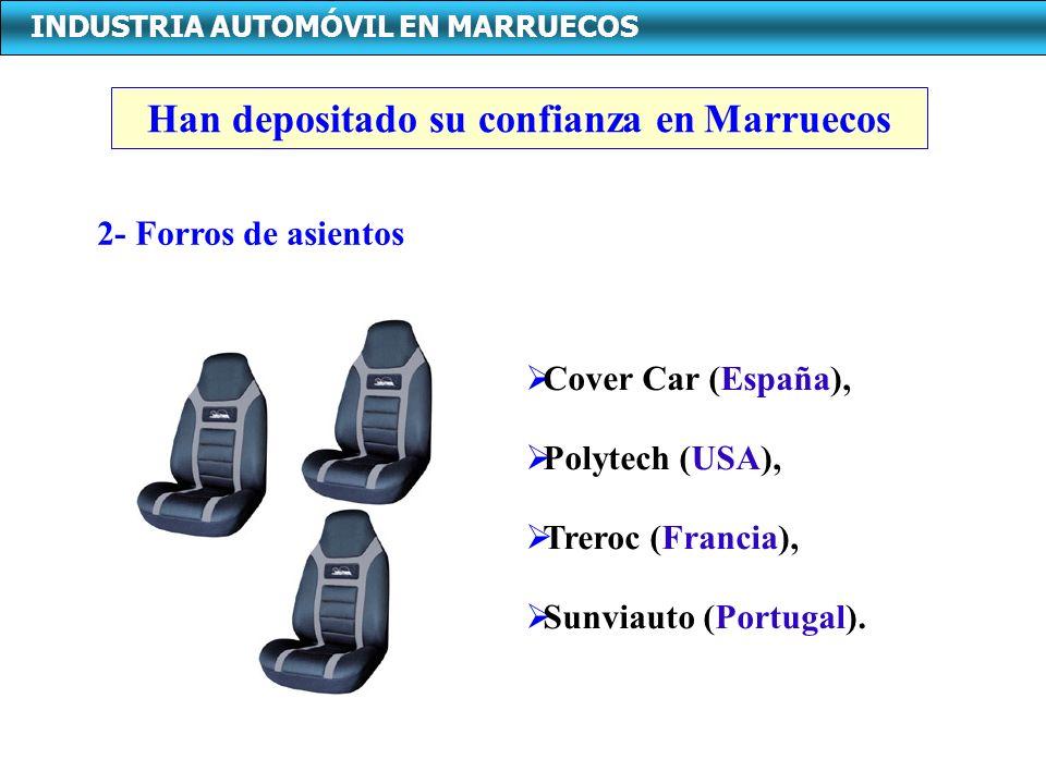 INDUSTRIA AUTOMÓVIL EN MARRUECOS 2- Forros de asientos Cover Car (España), Polytech (USA), Treroc (Francia), Sunviauto (Portugal). Han depositado su c