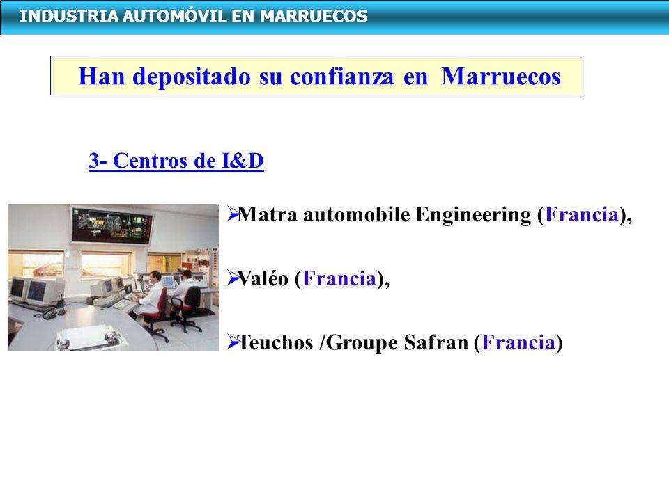 INDUSTRIA AUTOMÓVIL EN MARRUECOS Matra automobile Engineering (Francia), Valéo (Francia), Teuchos /Groupe Safran (Francia) 3- Centros de I&D Han depos