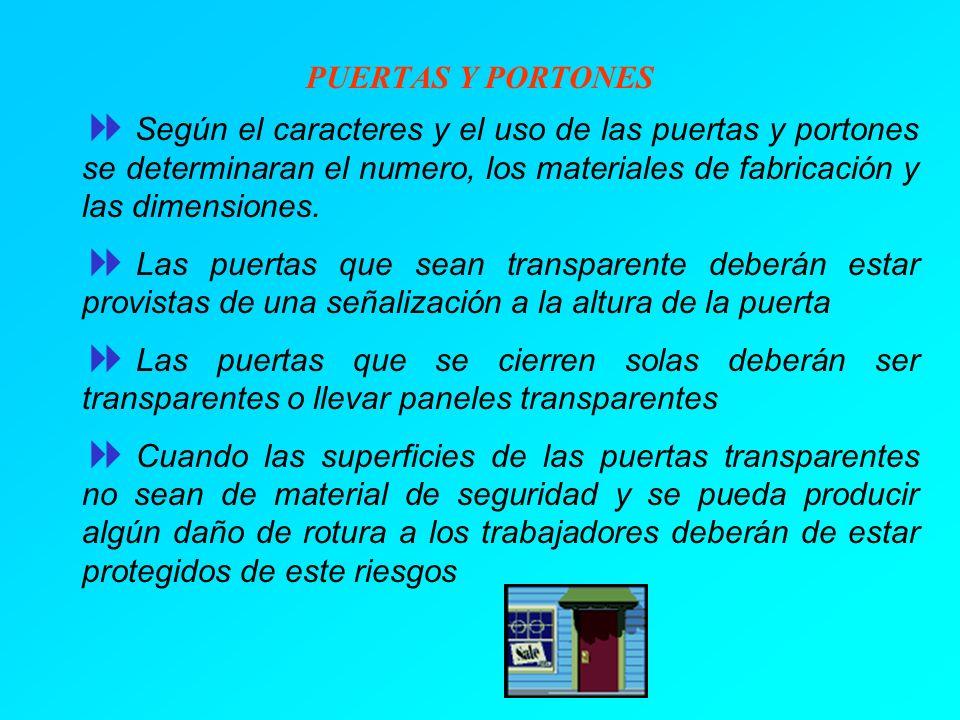 PUERTAS Y PORTONES Según el caracteres y el uso de las puertas y portones se determinaran el numero, los materiales de fabricación y las dimensiones.