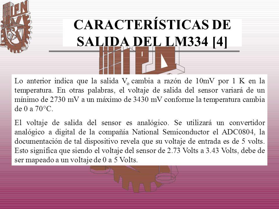 CARACTERÍSTICAS DE SALIDA DEL LM334 [4] Lo anterior indica que la salida V o cambia a razón de 10mV por 1 K en la temperatura. En otras palabras, el v