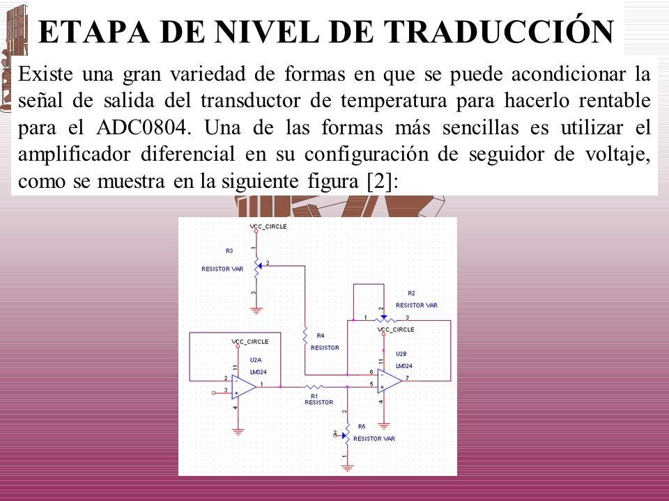 ETAPA DE NIVEL DE TRADUCCIÓN Existe una gran variedad de formas en que se puede acondicionar la señal de salida del transductor de temperatura para ha