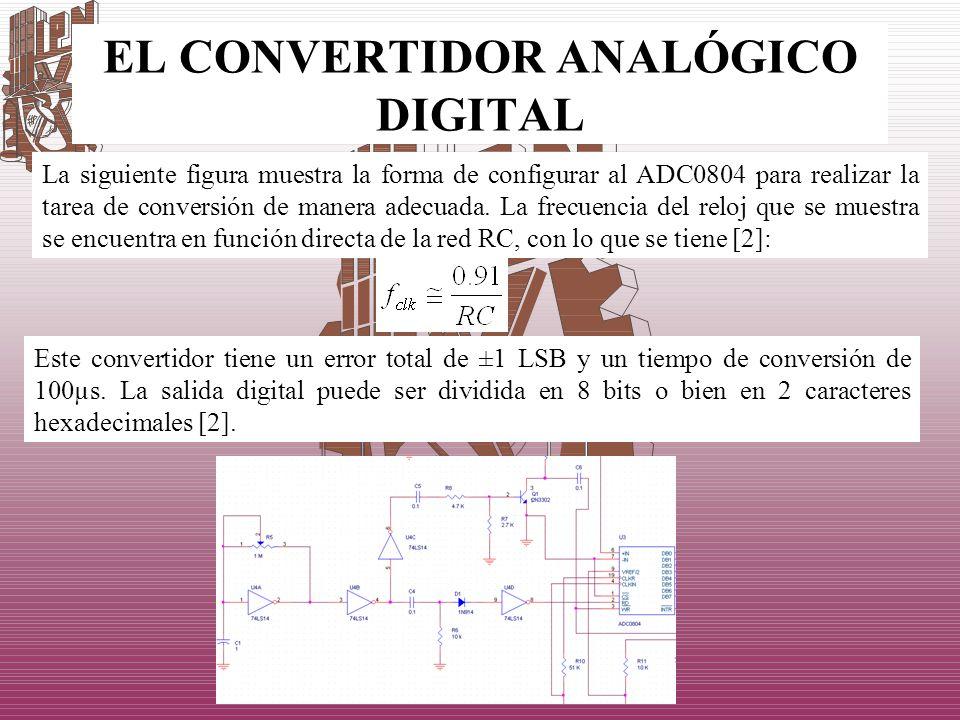 EL CONVERTIDOR ANALÓGICO DIGITAL La siguiente figura muestra la forma de configurar al ADC0804 para realizar la tarea de conversión de manera adecuada