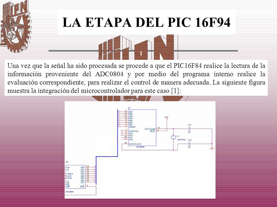 LA ETAPA DEL PIC 16F94 Una vez que la señal ha sido procesada se procede a que el PIC16F84 realice la lectura de la información proveniente del ADC080
