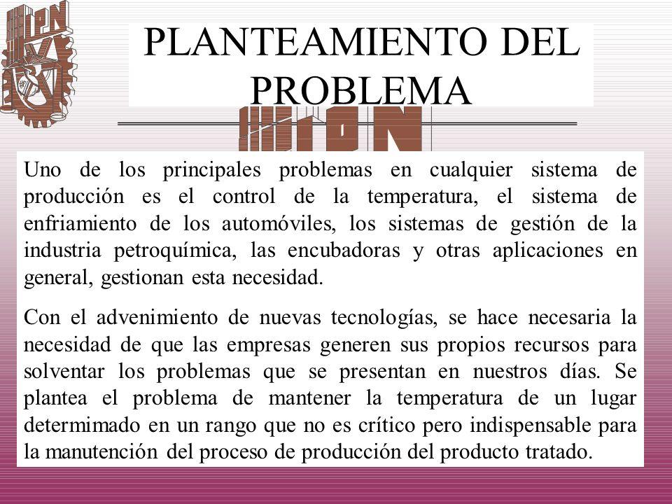 PLANTEAMIENTO DEL PROBLEMA Uno de los principales problemas en cualquier sistema de producción es el control de la temperatura, el sistema de enfriami