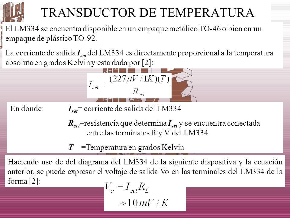 TRANSDUCTOR DE TEMPERATURA El LM334 se encuentra disponible en un empaque metálico TO-46 o bien en un empaque de plástico TO-92. La corriente de salid